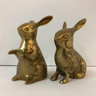 Brass Rabbit Figurine Pair