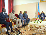 Des représentants de l'Eglise Kimbanguiste le 1/06/2015 lors des consultations par le Président Joseph Kabila dans son bureau officiel au palais de la nation à Kinshasa en préparation du dialogue entre les forces vives de la RDC. Radio Okapi/Ph. John Bompengo