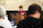 Seventeen-year-old Rowan Diberlando gives testimony during the first of three public hearings at the Cowlitz County Regional Event Center in Longview, Wash., on May 24, 2016, concerning the proposed Millennium Bulk Terminals coal export terminal. (Photo by: Alex Milan Tracy)