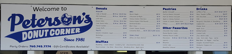 photo of the menu at Peterson's Donut Corner