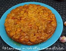 Gâteau aux mirabelles caramélisées dans un caramel au beurre salé