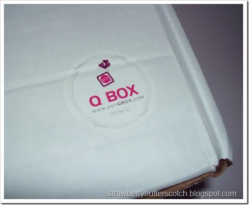 Close up of the Q Box logo sticker on the box.