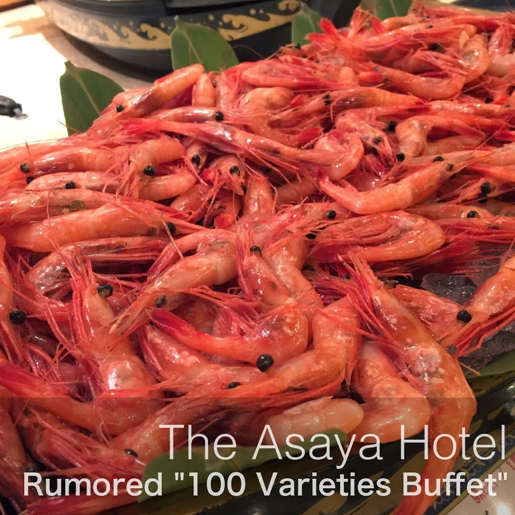 A heaping portion of sweet shrimp, 100 Varieties Buffet at the Asaya Hotel.