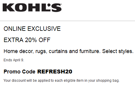 Kohl 39 S Coupon Save 20 Off Home Decor Furniture