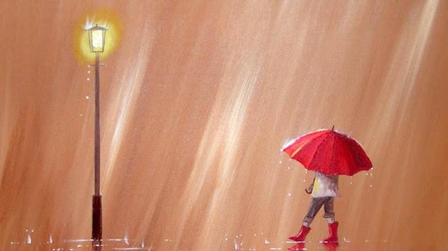 Chiếc dù màu đỏ