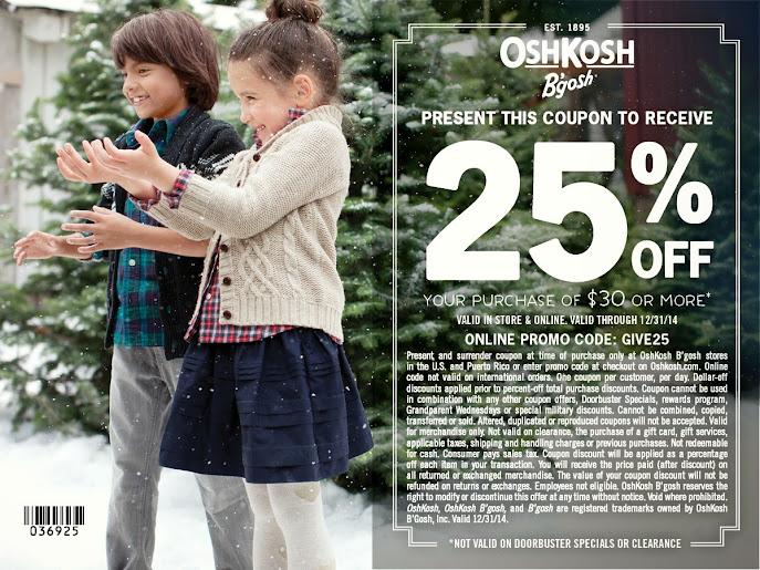 Get 25% off your purchase at OshKosh B'gosh