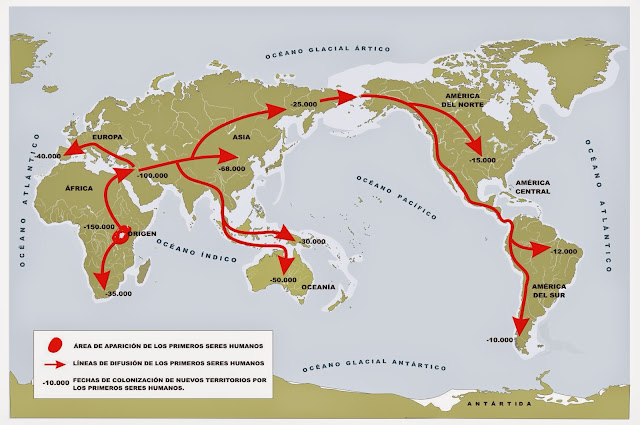 Resultado de imagen de rutas expansion humanidad desde africa
