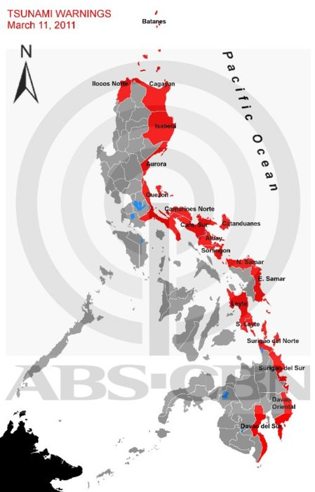 MAP of Philippine provinces affected by Philvolcs tsunami alert