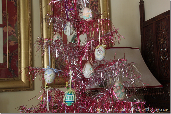 EASTER EGGS ON PINK TREE