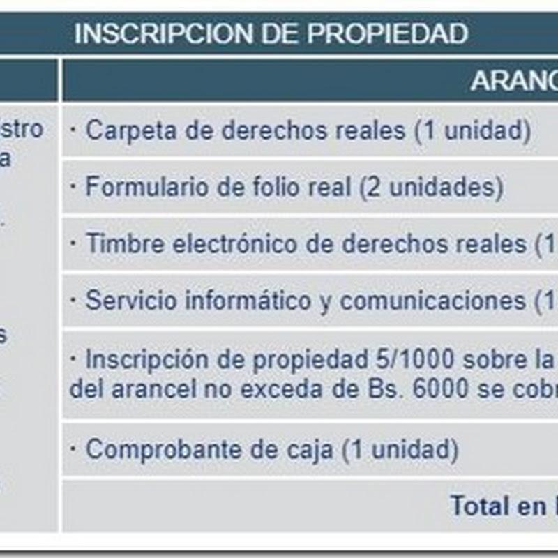 """Bolivia: Requisitos y costos para realizar """"Inscripción de Propiedad"""" en Derechos Reales"""