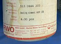 For sale 5130444203 RWO heating element 440V 2KW RWO 5130438203 Worldwide Email idealdieselsn@hotmail.com/ idealdieselsn@gmail.com