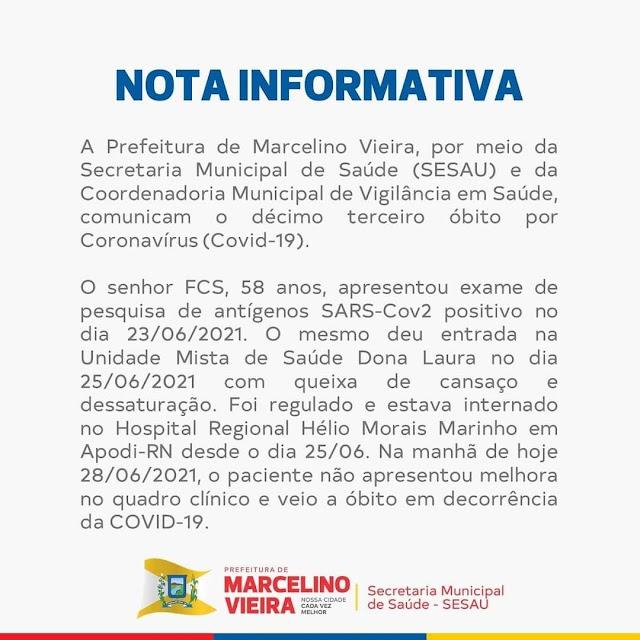 MARCELINO VIEIRA: SOBE PARA 13 O NUMERO DE ÓBTOS POR COVID