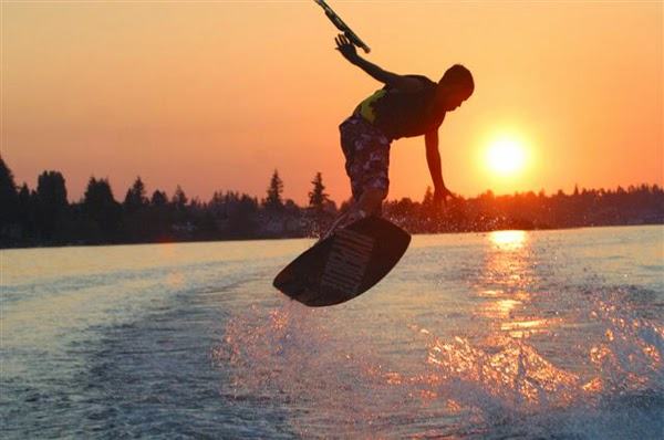 At nearly twelve miles long, there is plenty of room to wakeboard on Lake Whatcom. / Credit: Michael Watters