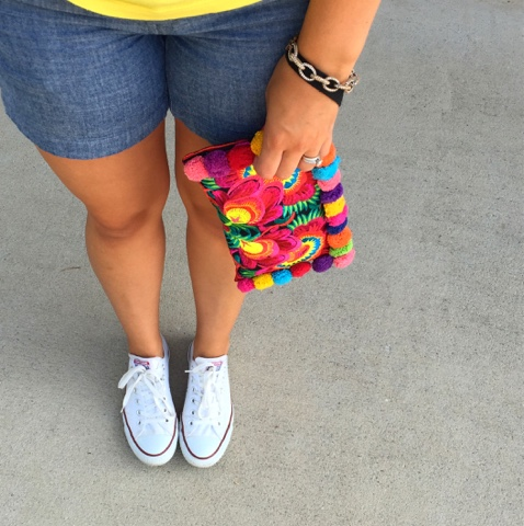 converse shoes, pom pom clutch, boho chic, chambray shorts