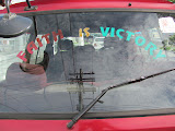 Lots of religious messages on the car windows