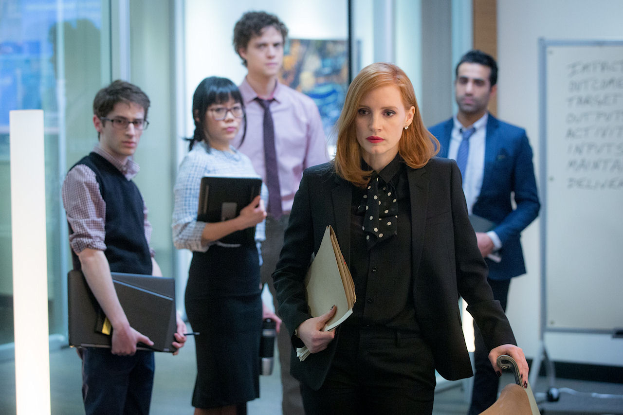 Noah Robbins, Grace Lynn Jung, Douglas Smith, Jessica Chastain and Al Macadam in MISS SLOANE. (Photo by Kerry Hayes / courtesy of EuropaCorp).