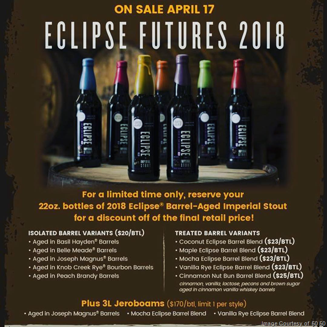 Fifty Fifty Brewing Eclipse Futures 2018 Go On Sale 4/17