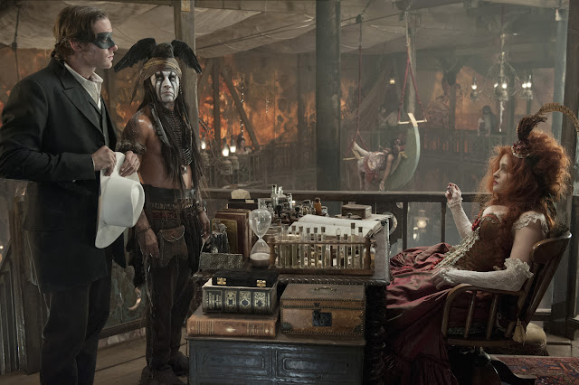 THE LONE RANGER Armie Hammer as The Lone Ranger Johnny Depp as Tonto Helena Bonham Carter as Red Harrington