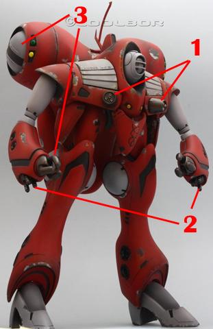 Macross 1/72 Queadluun-Rau Battle Suit Armament weapon position