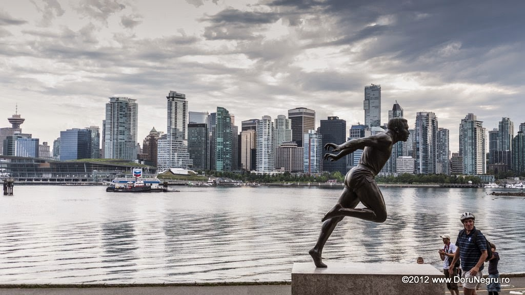 The statue of Harry Jerome, a famous Canadian track and field runner and Olympic bronze medalist at Tokyo in 1964