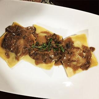 Short Rib Ravioli with Mushroom Cream Sauce.