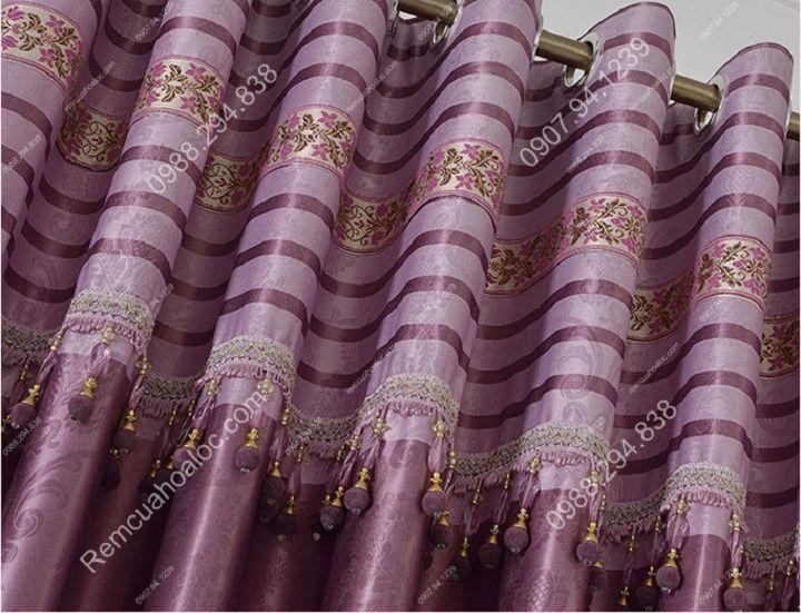 Rèm cửa cao cấp đẹp một màu tím diềm 4