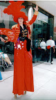 Red Sequin on stilts