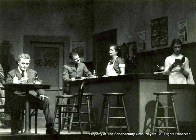 John Varnum, Max Hall, Harriet McMullen and Cindy Brown in BUS STOP - January 1958.  Property of The Schenectady Civic Players Theater Archive.