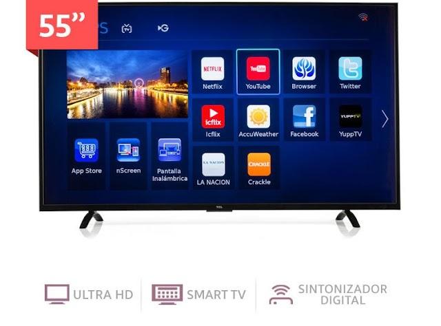 """Televisor  tcl 55"""" pulgadas ultraHD SMART TV full en 50 mil."""