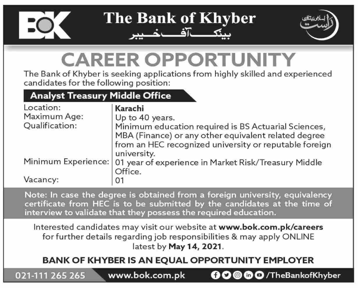 Bank of Khyber Jobs 2021 Online Apply BOK Jobs