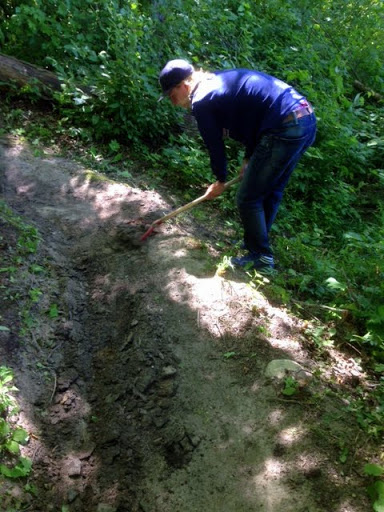 Trail work on the singletrack.
