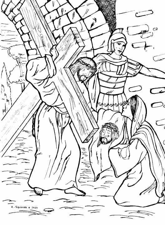 Verónica limpia el rostro de Jesús para colorear