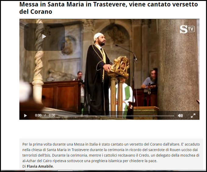 La Stampa Koranvers vom Altar aus in San Maria in Trastevere