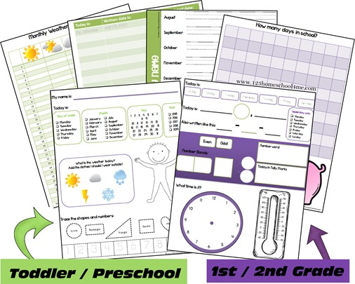 Daily Calendar Notebooking Pages Toddler Preschool 1st grade and 2nd grade