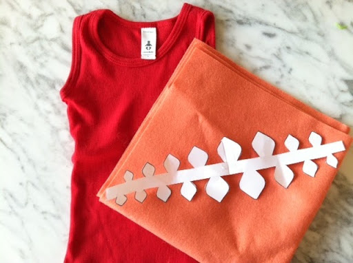 I printed Steph's spine template and used felt I had at home. The tank top was from the baby section at American Apparel!