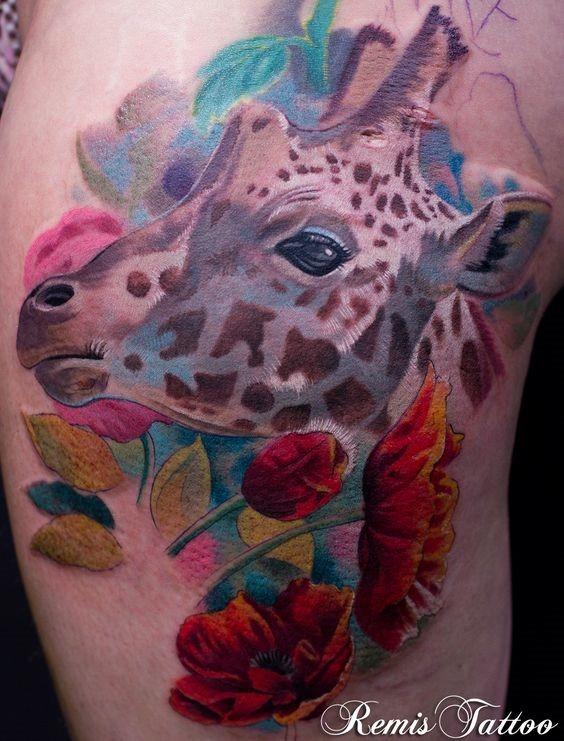 lindos_florais_girafa_coxa_tatuagem