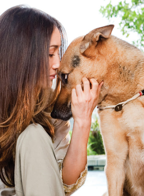 Maggie Q and one of her dogs 2