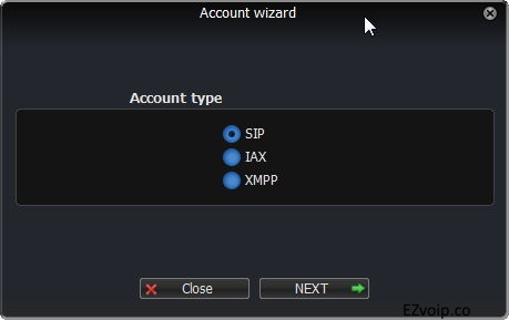 Zoiper Account wizard: choose SIP