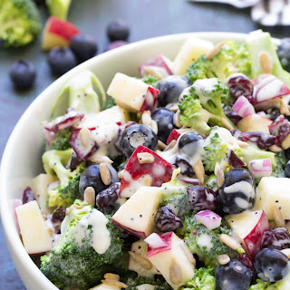 No Mayo Broccoli Salad with Blueberries and Apple.