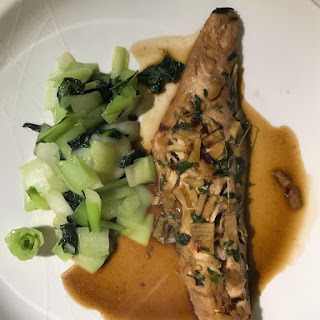 Quick and Healthy Asian Baked Gurnard with Steamed Baby Pak Choi.