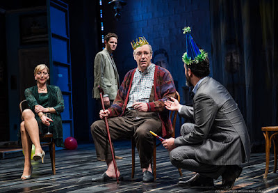 Kate Eastwood Norris as Emma Arkadina, Ian Holcomb as Conrad Arkadina, Charles Leggett as Eugene Sorn and Cody Nickell as Doyle Trigorin in Stupid F***ing Bird at Portland Center Stage