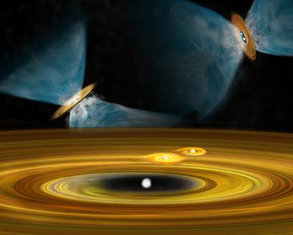 ilustração da formação de planetas e de sistemas estelares múltiplos