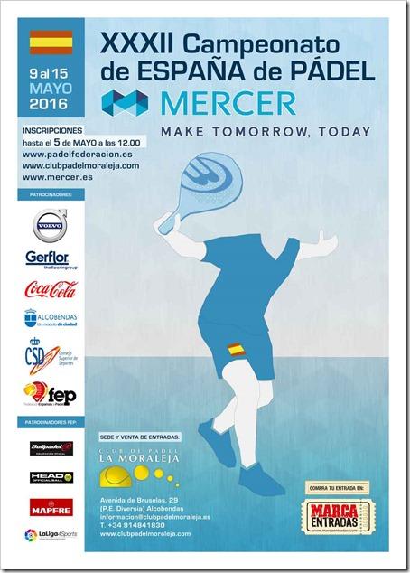 XXXII Campeonato de España de Pádel Mercer Absoluto del 9 al 15 de mayo en Madrid.