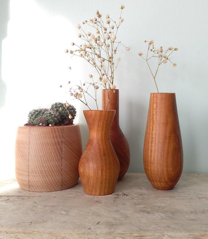 driftwood shelf and handturned vases
