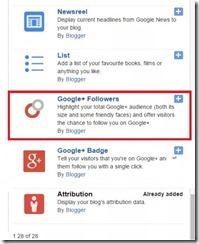Google plus followers gadget in Blogger1