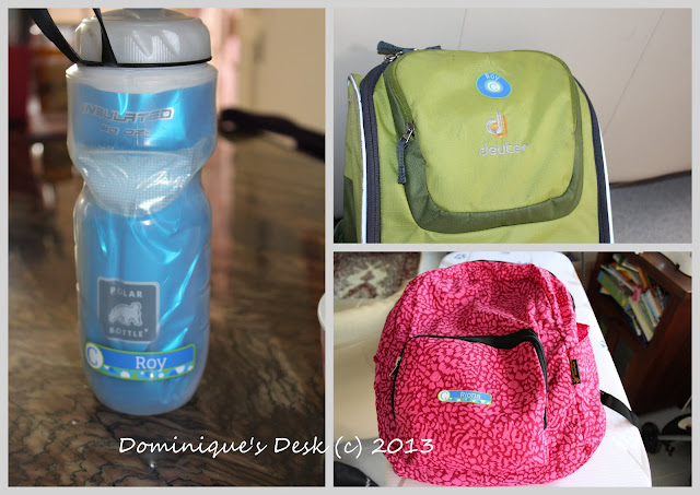 Labelled bags and water bottle