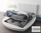 letto rotondo matrimoniale con contenitore aperto, con materasso normale da 160x200 -  mod. Zero Presotto