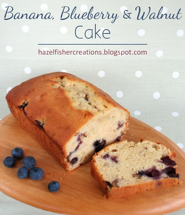 2015Aug27 Banana Blueberry Walnut Cake recipe hazelfishercreations
