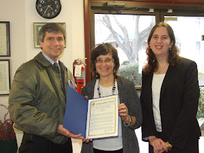 Photo: Congressman Sestak presents the proclamation to PathWays PA.  Carol Goertzel, President/CEO, and Marianne Bellesorte, Director of Policy, accept it on behalf of the agency.
