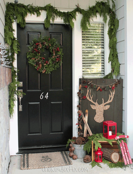 Rustic front porch with all natural elements for winter